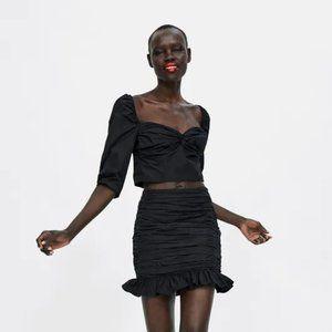 Zara Puff Sleeve Ruched Crop Top in Black
